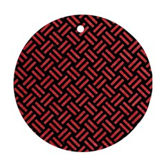 Woven2 Black Marble & Red Colored Pencil (r) Round Ornament (two Sides) by trendistuff