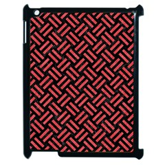 Woven2 Black Marble & Red Colored Pencil (r) Apple Ipad 2 Case (black) by trendistuff