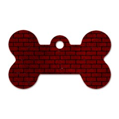 Brick1 Black Marble & Red Grunge Dog Tag Bone (one Side) by trendistuff