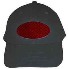 Brick2 Black Marble & Red Grunge Black Cap by trendistuff