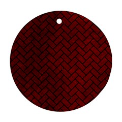 Brick2 Black Marble & Red Grunge Ornament (round) by trendistuff