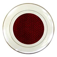 Brick2 Black Marble & Red Grunge Porcelain Plates by trendistuff