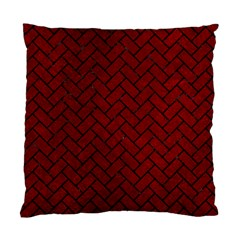 Brick2 Black Marble & Red Grunge Standard Cushion Case (two Sides) by trendistuff