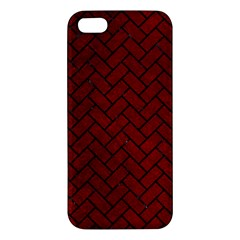 Brick2 Black Marble & Red Grunge Apple Iphone 5 Premium Hardshell Case by trendistuff