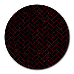 Brick2 Black Marble & Red Grunge (r) Round Mousepads by trendistuff
