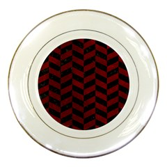 Chevron1 Black Marble & Red Grunge Porcelain Plates by trendistuff