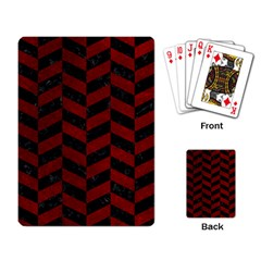 Chevron1 Black Marble & Red Grunge Playing Card by trendistuff