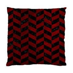 Chevron1 Black Marble & Red Grunge Standard Cushion Case (two Sides) by trendistuff