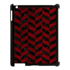 Chevron1 Black Marble & Red Grunge Apple Ipad 3/4 Case (black) by trendistuff