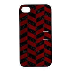Chevron1 Black Marble & Red Grunge Apple Iphone 4/4s Hardshell Case With Stand by trendistuff