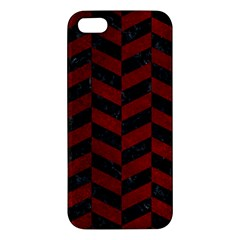 Chevron1 Black Marble & Red Grunge Apple Iphone 5 Premium Hardshell Case by trendistuff