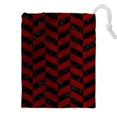 Chevron1 Black Marble & Red Grunge Drawstring Pouches (xxl) by trendistuff