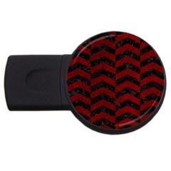 Chevron2 Black Marble & Red Grunge Usb Flash Drive Round (2 Gb) by trendistuff