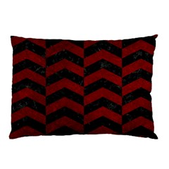 Chevron2 Black Marble & Red Grunge Pillow Case (two Sides) by trendistuff