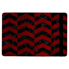Chevron2 Black Marble & Red Grunge Ipad Air Flip by trendistuff