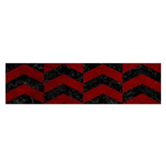 Chevron2 Black Marble & Red Grunge Satin Scarf (oblong) by trendistuff