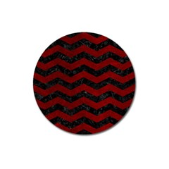 Chevron3 Black Marble & Red Grunge Magnet 3  (round) by trendistuff