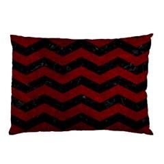 Chevron3 Black Marble & Red Grunge Pillow Case by trendistuff