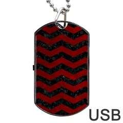 Chevron3 Black Marble & Red Grunge Dog Tag Usb Flash (one Side) by trendistuff