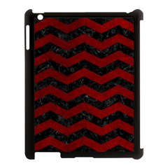 Chevron3 Black Marble & Red Grunge Apple Ipad 3/4 Case (black) by trendistuff