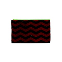 Chevron3 Black Marble & Red Grunge Cosmetic Bag (xs) by trendistuff