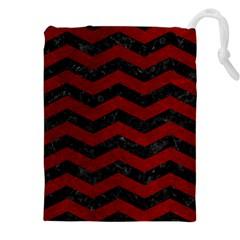 Chevron3 Black Marble & Red Grunge Drawstring Pouches (xxl) by trendistuff
