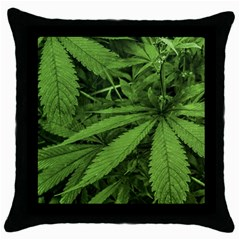 Marijuana Plants Pattern Throw Pillow Case (black) by dflcprints