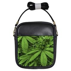 Marijuana Plants Pattern Girls Sling Bags by dflcprints