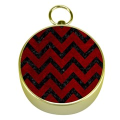 Chevron9 Black Marble & Red Grunge Gold Compasses by trendistuff