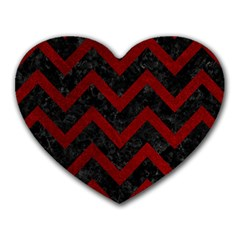 Chevron9 Black Marble & Red Grunge (r) Heart Mousepads by trendistuff