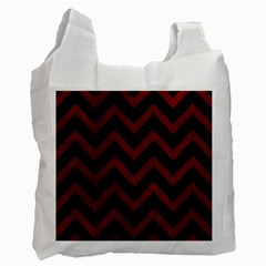 Chevron9 Black Marble & Red Grunge (r) Recycle Bag (one Side) by trendistuff