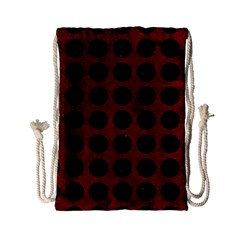 Circles1 Black Marble & Red Grunge Drawstring Bag (small) by trendistuff