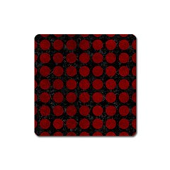 Circles1 Black Marble & Red Grunge (r) Square Magnet by trendistuff