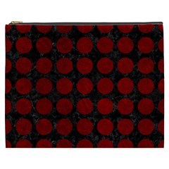 Circles1 Black Marble & Red Grunge (r) Cosmetic Bag (xxxl)  by trendistuff
