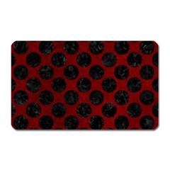Circles2 Black Marble & Red Grunge Magnet (rectangular) by trendistuff