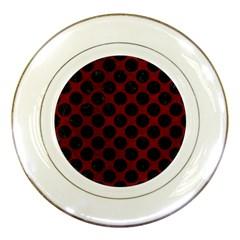 Circles2 Black Marble & Red Grunge Porcelain Plates by trendistuff