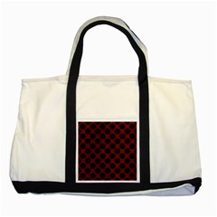 Circles2 Black Marble & Red Grunge Two Tone Tote Bag by trendistuff