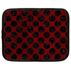Circles2 Black Marble & Red Grunge Netbook Case (xxl)  by trendistuff