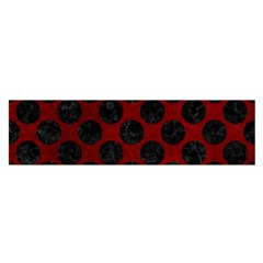 Circles2 Black Marble & Red Grunge Satin Scarf (oblong) by trendistuff