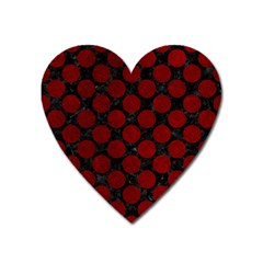 Circles2 Black Marble & Red Grunge (r) Heart Magnet by trendistuff
