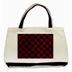 Circles2 Black Marble & Red Grunge (r) Basic Tote Bag by trendistuff