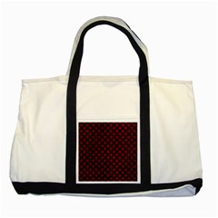 Circles3 Black Marble & Red Grunge Two Tone Tote Bag by trendistuff