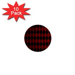 Diamond1 Black Marble & Red Grunge 1  Mini Magnet (10 Pack)  by trendistuff