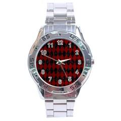 Diamond1 Black Marble & Red Grunge Stainless Steel Analogue Watch by trendistuff