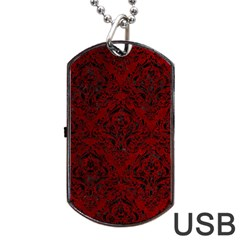 Damask1 Black Marble & Red Grunge Dog Tag Usb Flash (two Sides) by trendistuff