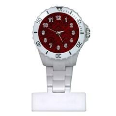 Damask1 Black Marble & Red Grunge Plastic Nurses Watch by trendistuff