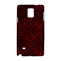 Damask1 Black Marble & Red Grunge Samsung Galaxy Note 4 Hardshell Case by trendistuff