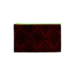 Damask1 Black Marble & Red Grunge Cosmetic Bag (xs) by trendistuff
