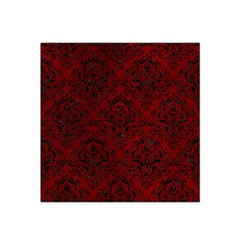 Damask1 Black Marble & Red Grunge Satin Bandana Scarf