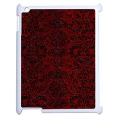 Damask2 Black Marble & Red Grunge Apple Ipad 2 Case (white) by trendistuff